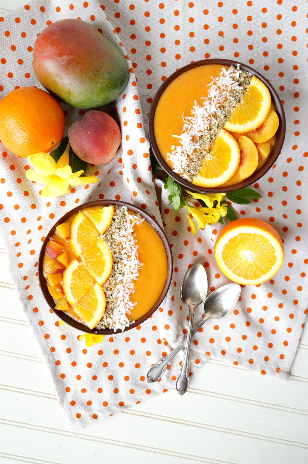 orange sunrise smoothie bowls | The Baking Fairy