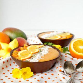 orange sunrise smoothie bowls | The Baking Fairy