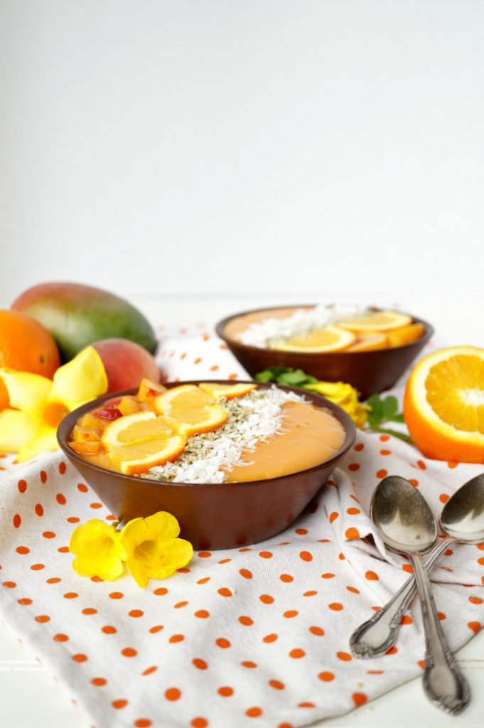 orange sunrise smoothie bowls