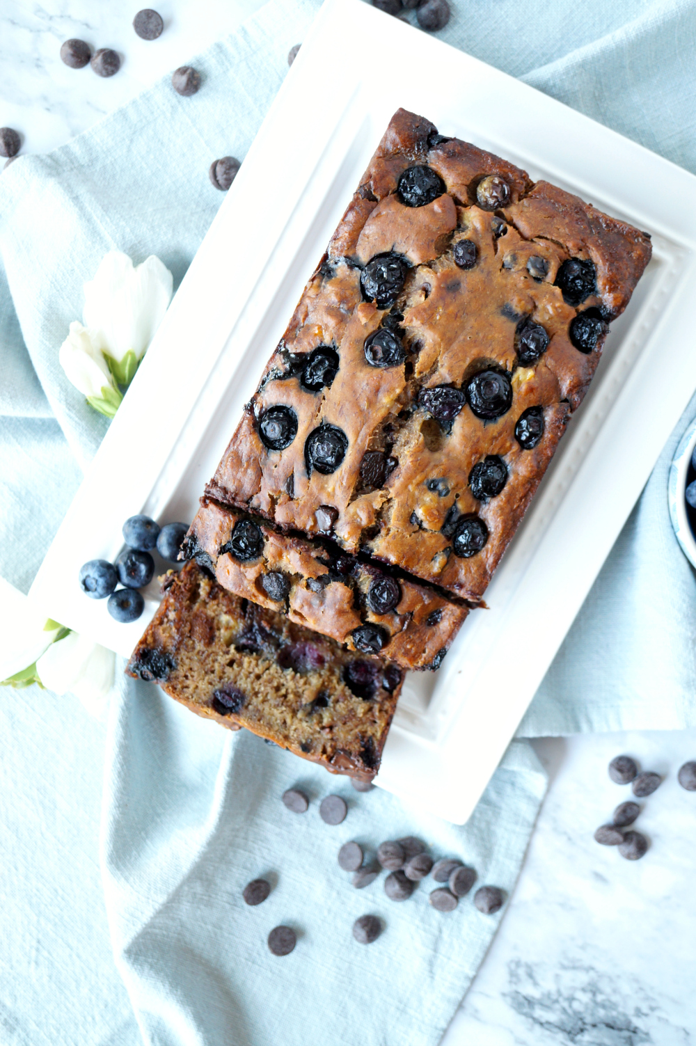 vegan blueberry chocolate chip banana bread | The Baking Fairy