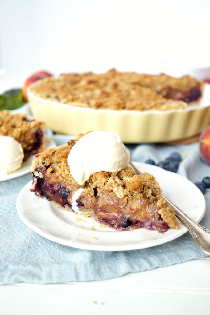 blueberry peach pie with pecan streusel