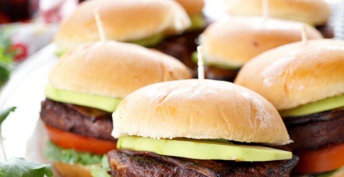 vegan burger sliders with avocado and eggplant bacon