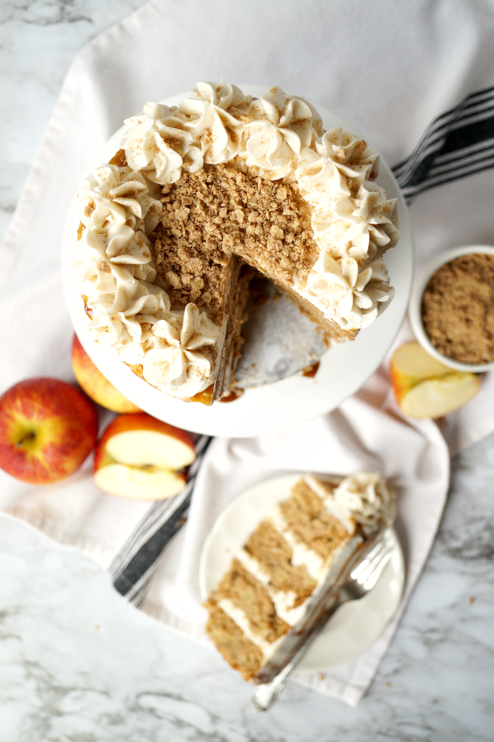 apple cinnamon layer cake with brown butter streusel #AppleWeek | The Baking Fairy