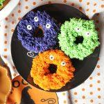 fuzzy monster donuts {pumpkin chocolate chip} | The Baking Fairy #HalloweenTreatsWeek