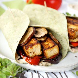 vegan grilled veggie & tofu wraps with hummus | The Baking Fairy