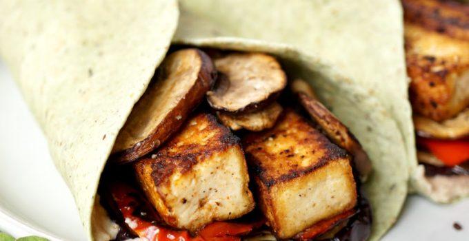 vegan grilled veggie & tofu wraps with hummus