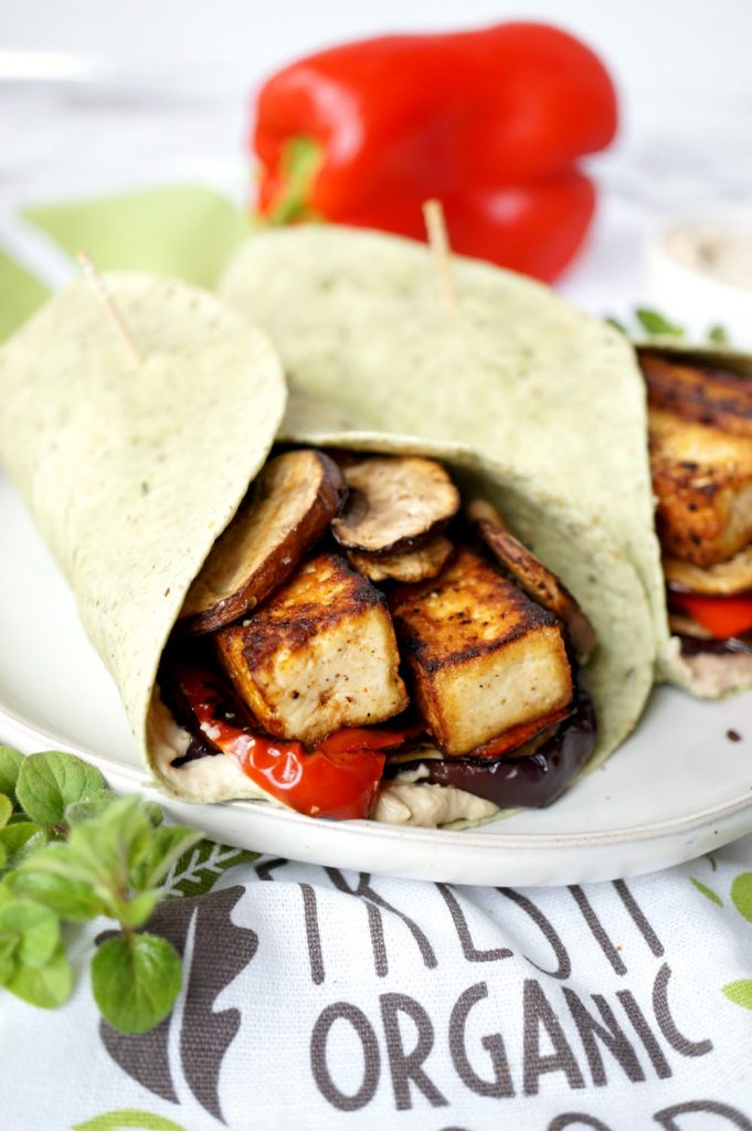 vegan grilled veggie & tofu wraps with hummus