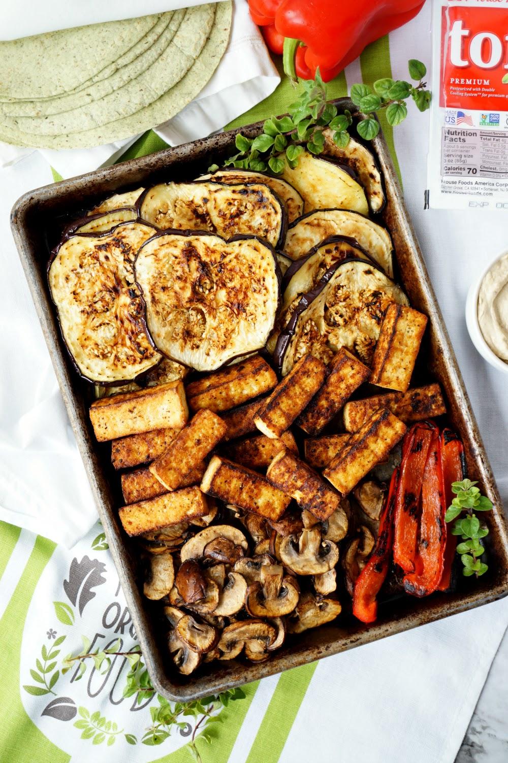 vegan grilled veggie & tofu wraps with hummus   The Baking Fairy