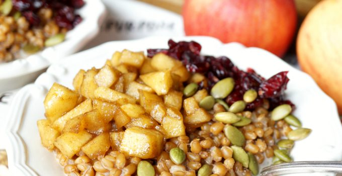 caramelized apple wheatberry porridge with cranberries and pepitas #AppleWeek