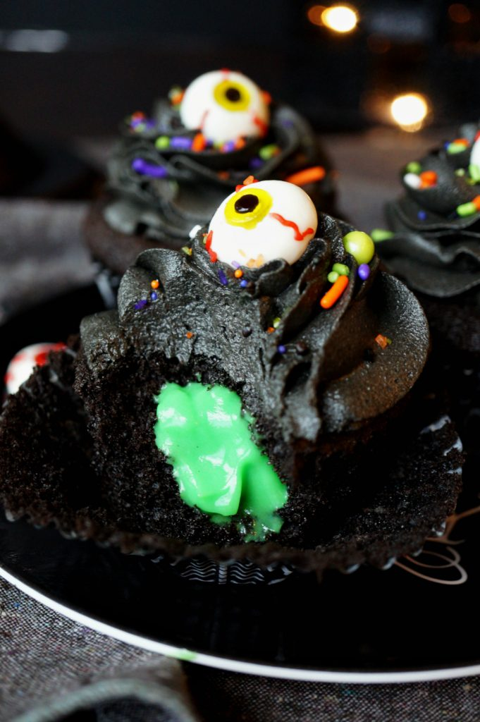 black chocolate cupcakes with slime filling #HalloweenTreatsWeek | The Baking Fairy