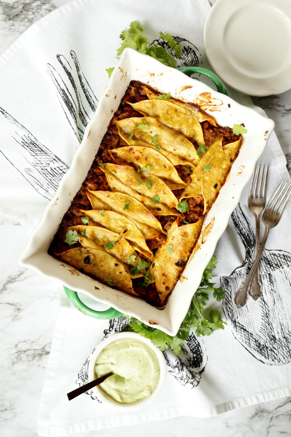 vegan breakfast enchiladas with avocado cashew cream | The Baking Fairy