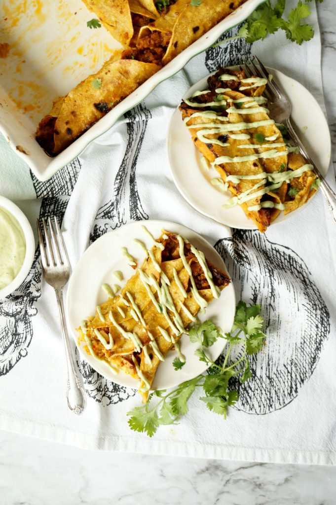 vegan breakfast enchiladas with avocado cashew cream