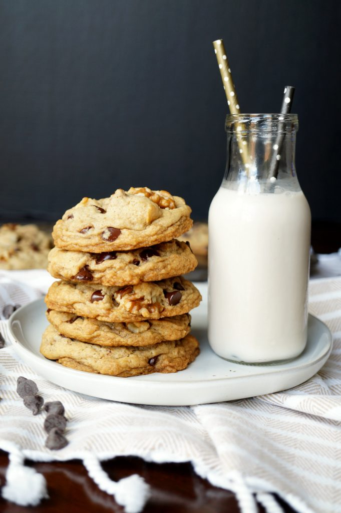 vegan Levain chocolate chip walnut cookies | The Baking Fairy #Choctoberfest