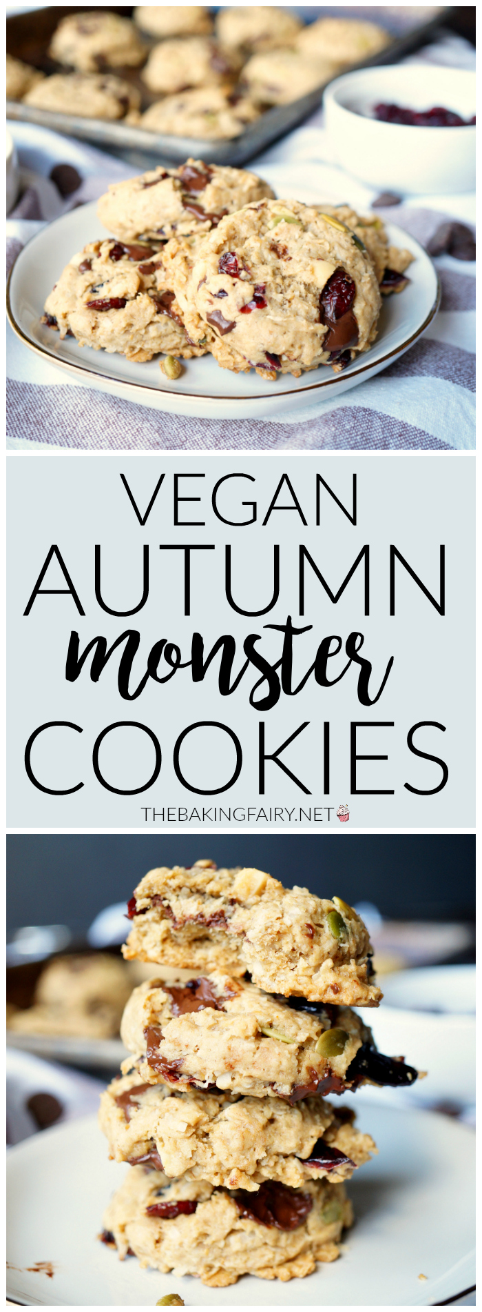 vegan autumn monster cookies | The Baking Fairy