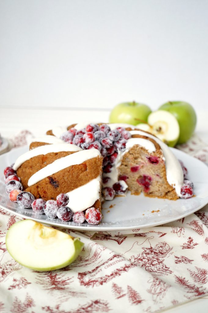 vegan cranberry apple bundt cake with cream cheese frosting | The Baking Fairy