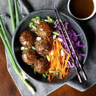 vegan japanese eggplant no-meatballs | The Baking Fairy