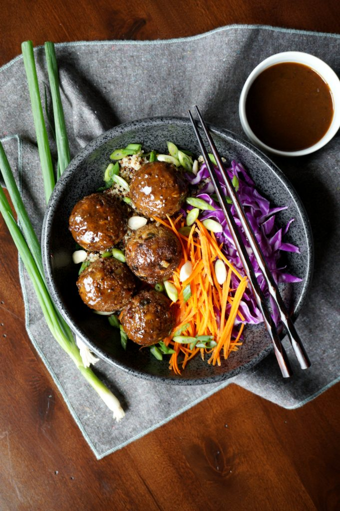 vegan japanese eggplant no-meatballs | The Baking Fairy