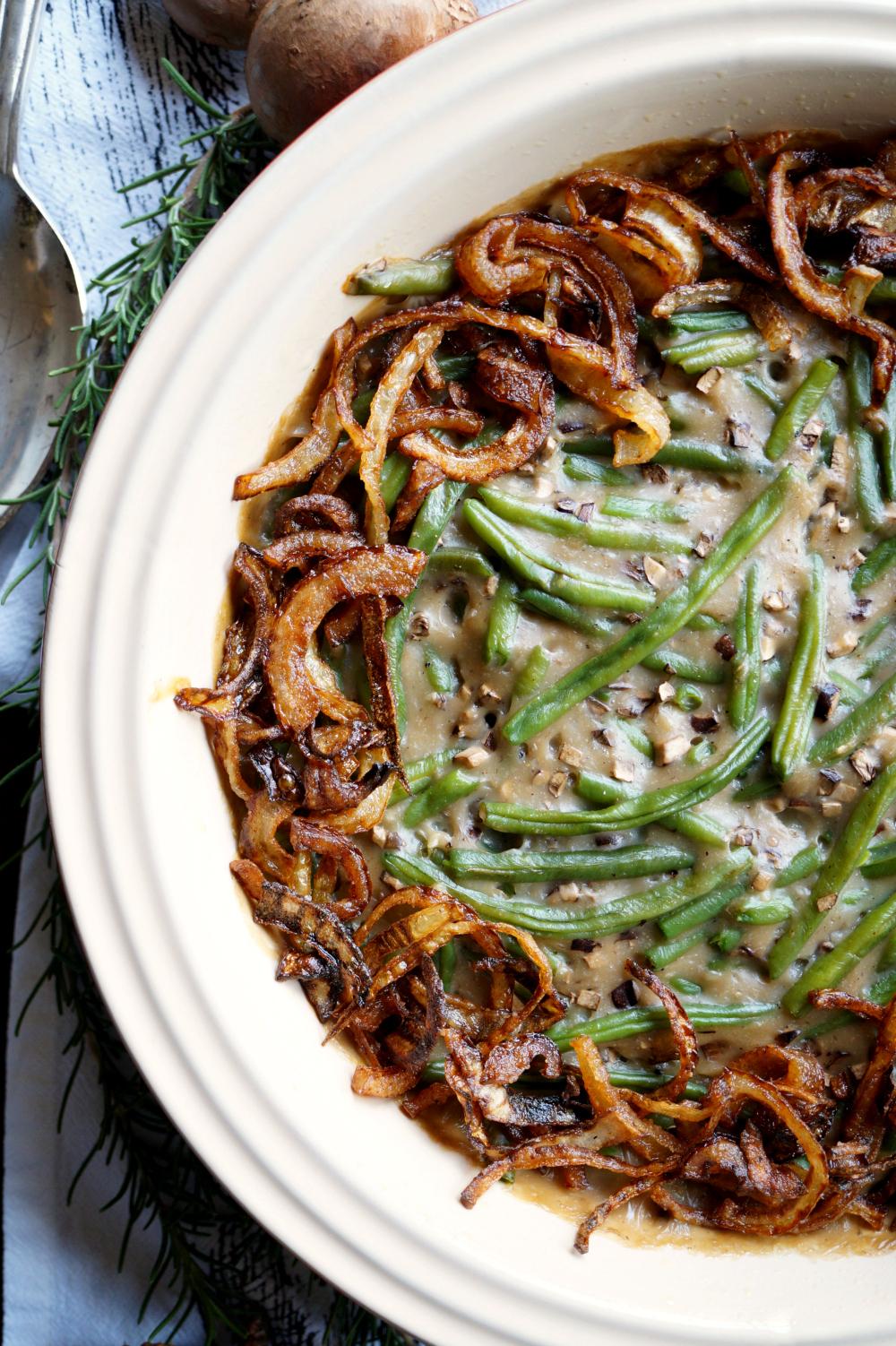 vegan green bean casserole from scratch | The Baking Fairy