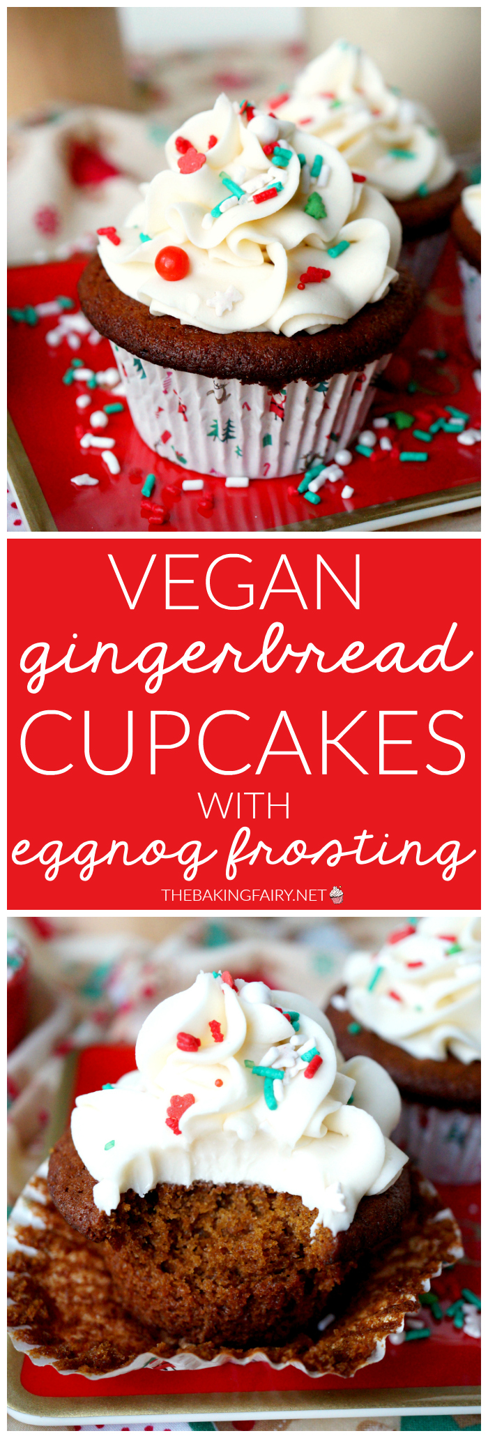 vegan gingerbread cupcakes with eggnog frosting   The Baking Fairy #ChristmasSweetsWeek #ad