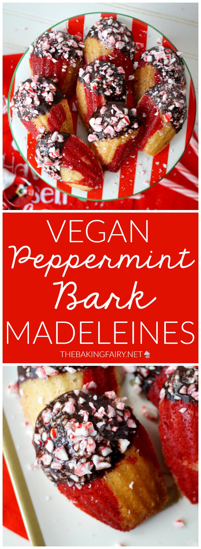 vegan peppermint bark madeleines #ChristmasCookiesWeek | The Baking Fairy