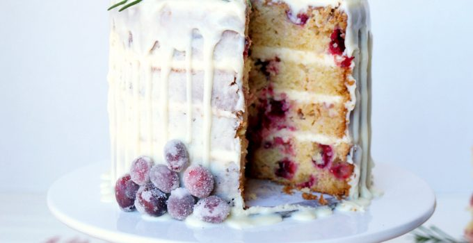 white chocolate cranberry layer cake