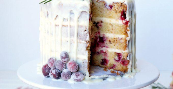 white chocolate cranberry layer cake
