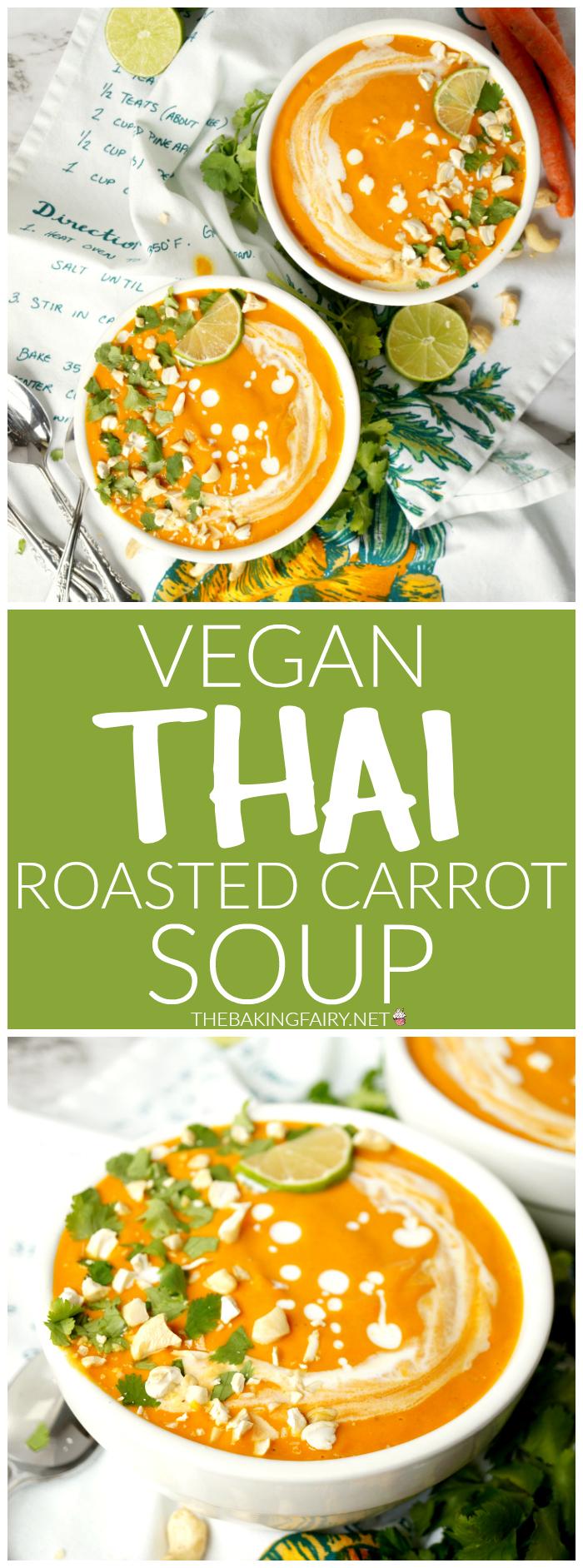 vegan Thai roasted carrot soup | The Baking Fairy