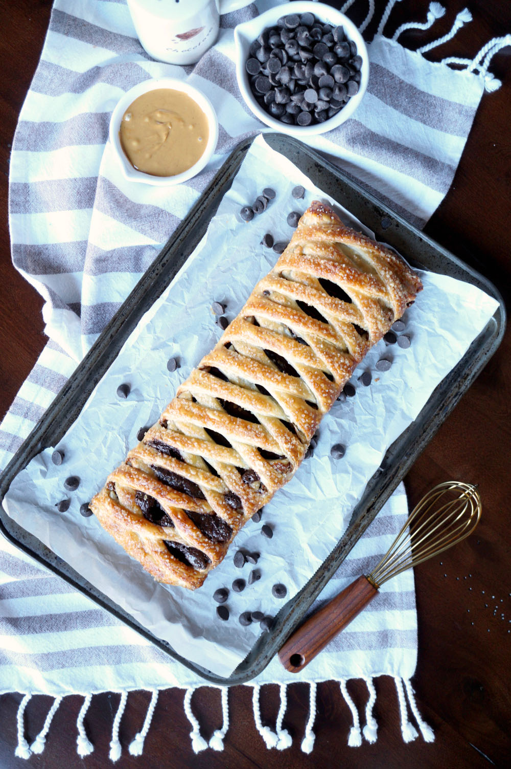 vegan chocolate peanut butter puff pastry braid | The Baking Fairy