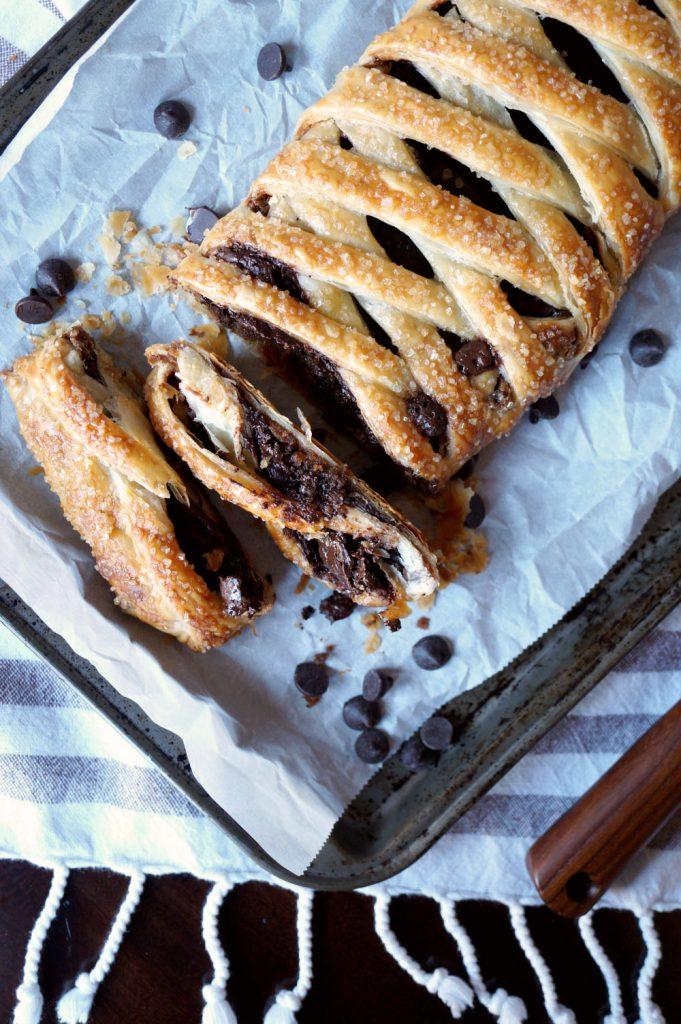 vegan chocolate peanut butter puff pastry braid | The Baking Fairy