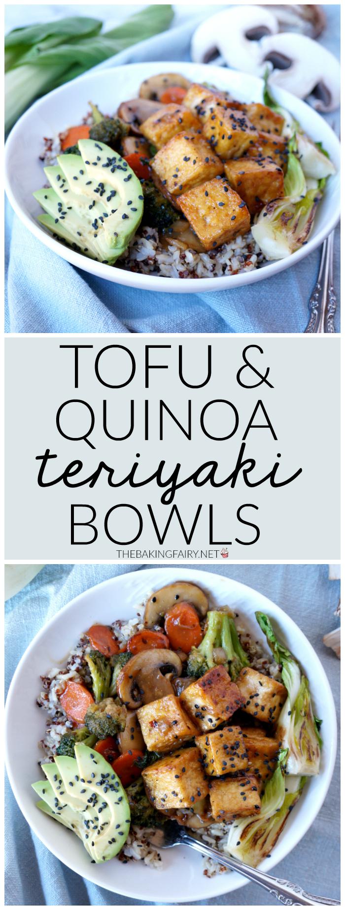 teriyaki tofu quinoa bowls   The Baking Fairy