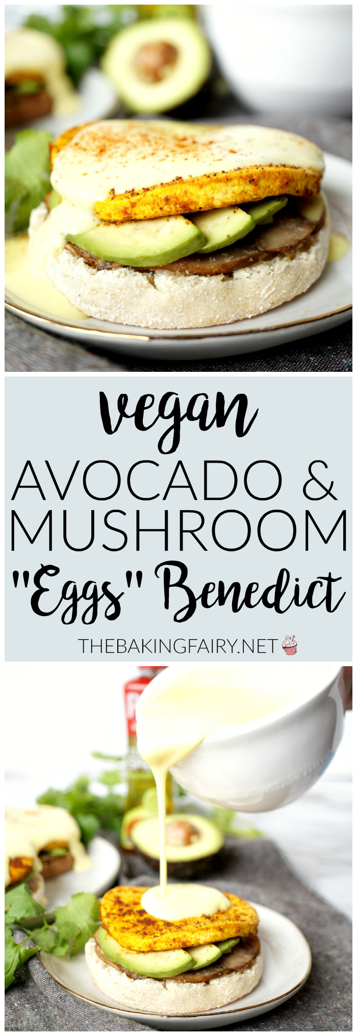 vegan avocado & mushroom eggs benedict | The Baking Fairy #PAMAvocadoPump #ad