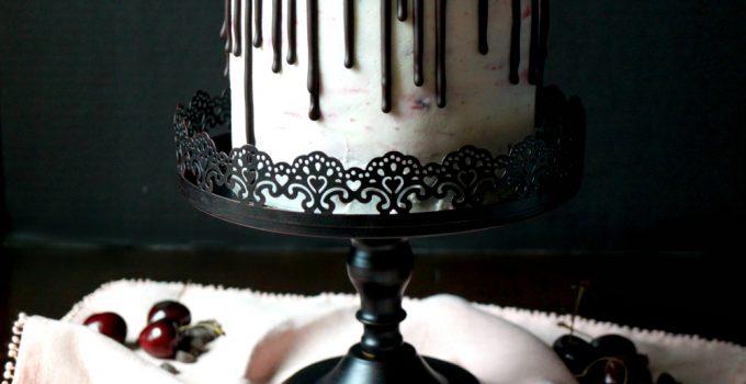 vegan dark chocolate cherry layer cake