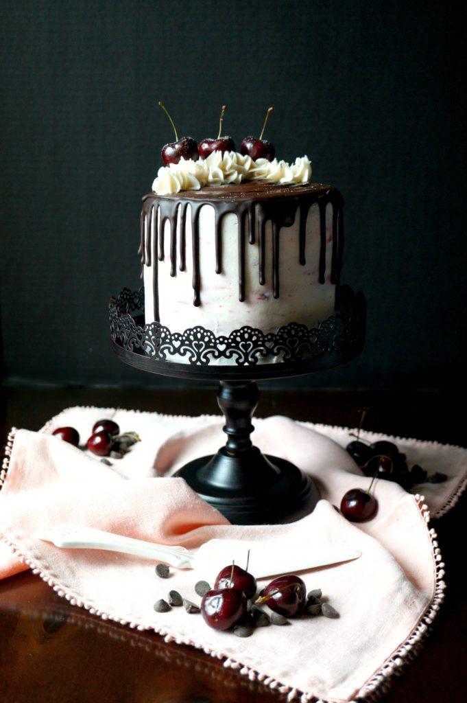 vegan dark chocolate cherry layer cake | The Baking Fairy