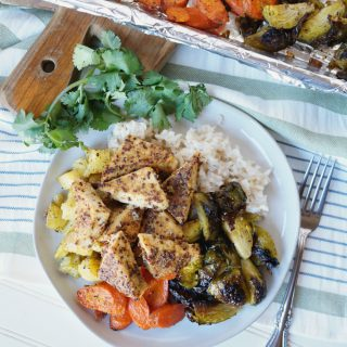 honey mustard tofu sheetpan meal | The Baking Fairy