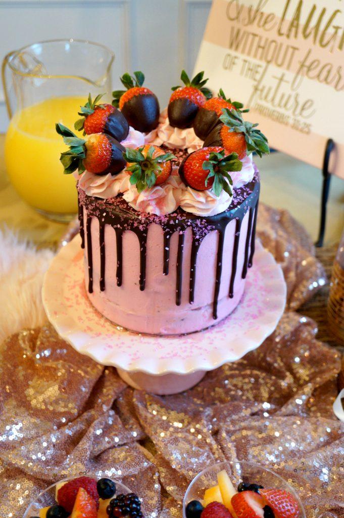 vegan chocolate covered strawberry cake & bridal shower | The Baking Fairy