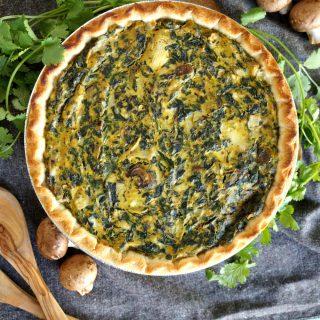 vegan spinach artichoke mushroom quiche | The Baking Fairy