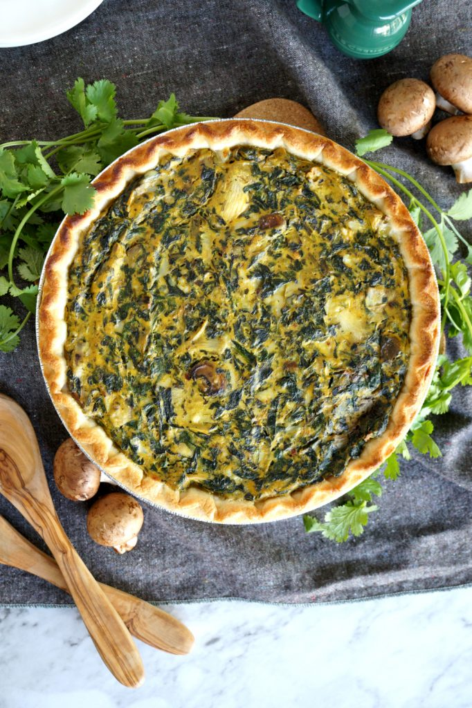 vegan spinach artichoke mushroom quiche | The Baking Fairy
