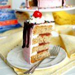 vegan banana split cake | The Baking Fairy #ad #SpringSweetsWeek