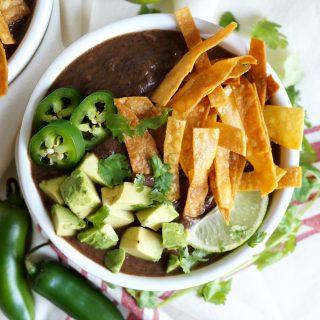 creamy vegan black bean soup | The Baking Fairy