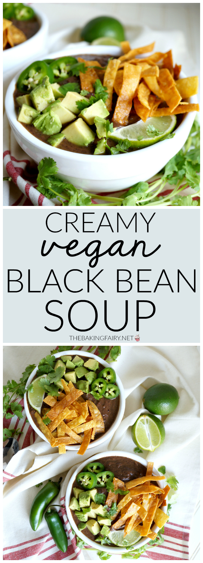 creamy vegan black bean soup | The Baking Fairy