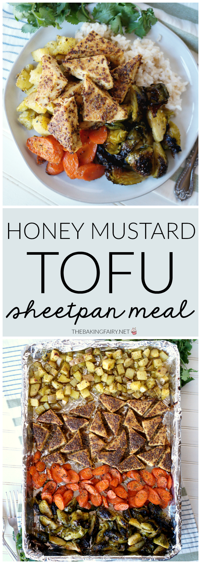 honey mustard tofu sheetpan meal | The Baking Fairy