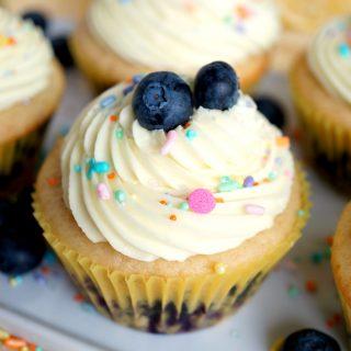 vegan lemon blueberry cupcakes | The Baking Fairy #ad #SpringSweetsWeek