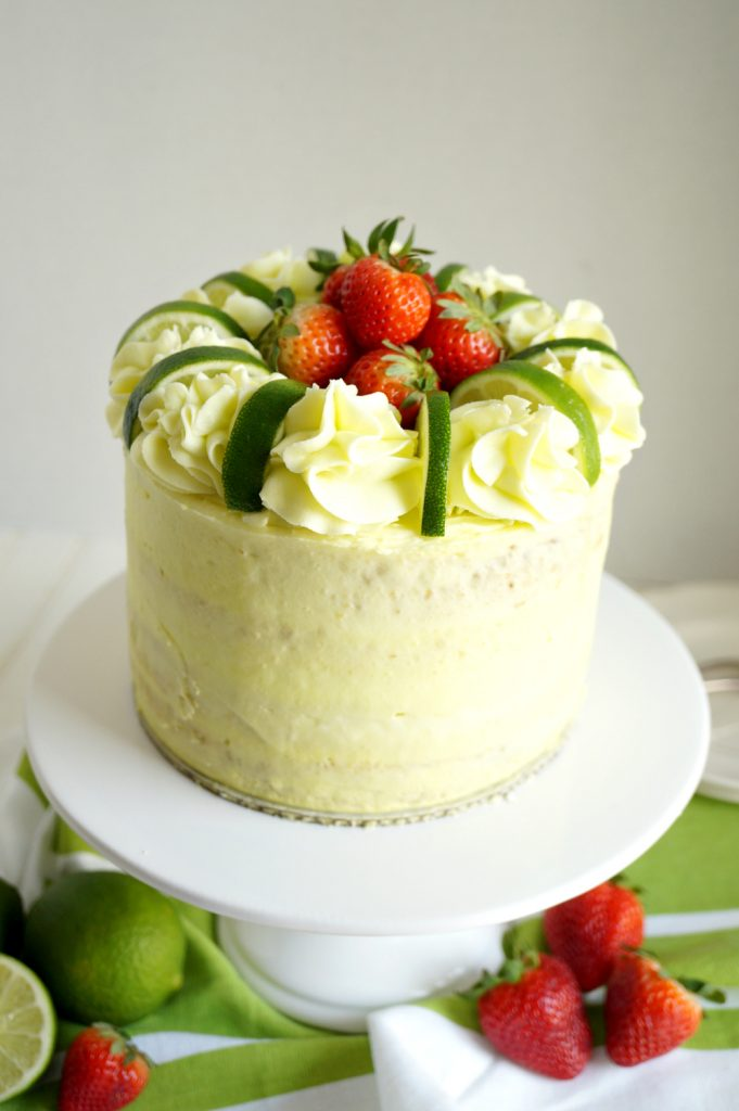 vegan strawberry lime layer cake | The Baking Fairy