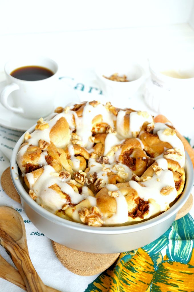 vegan carrot cake cinnamon rolls | The Baking Fairy #ad #EasterBrunchWeek
