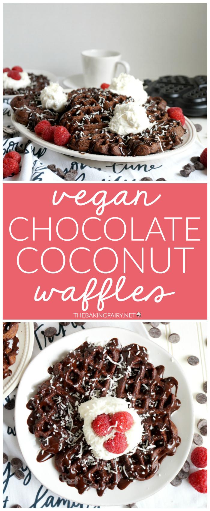 vegan chocolate coconut waffles | The Baking Fairy #ad #EasterBrunchWeek