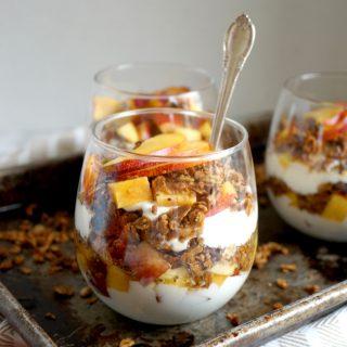 peach yogurt & brown sugar granola parfaits | The Baking Fairy #ad #EasterBrunchWeek