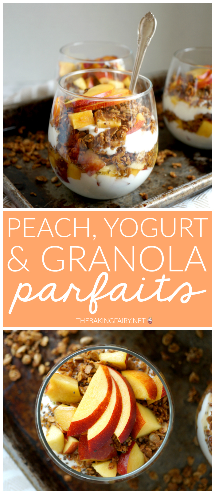 peach yogurt & brown sugar granola parfaits | The Baking Fairy #ad #EasterBrunchWeek