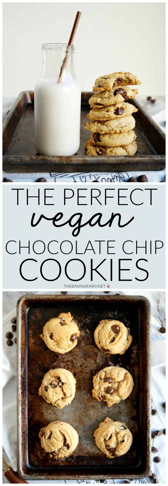 collage of vegan chocolate chip cookies for Pinterest