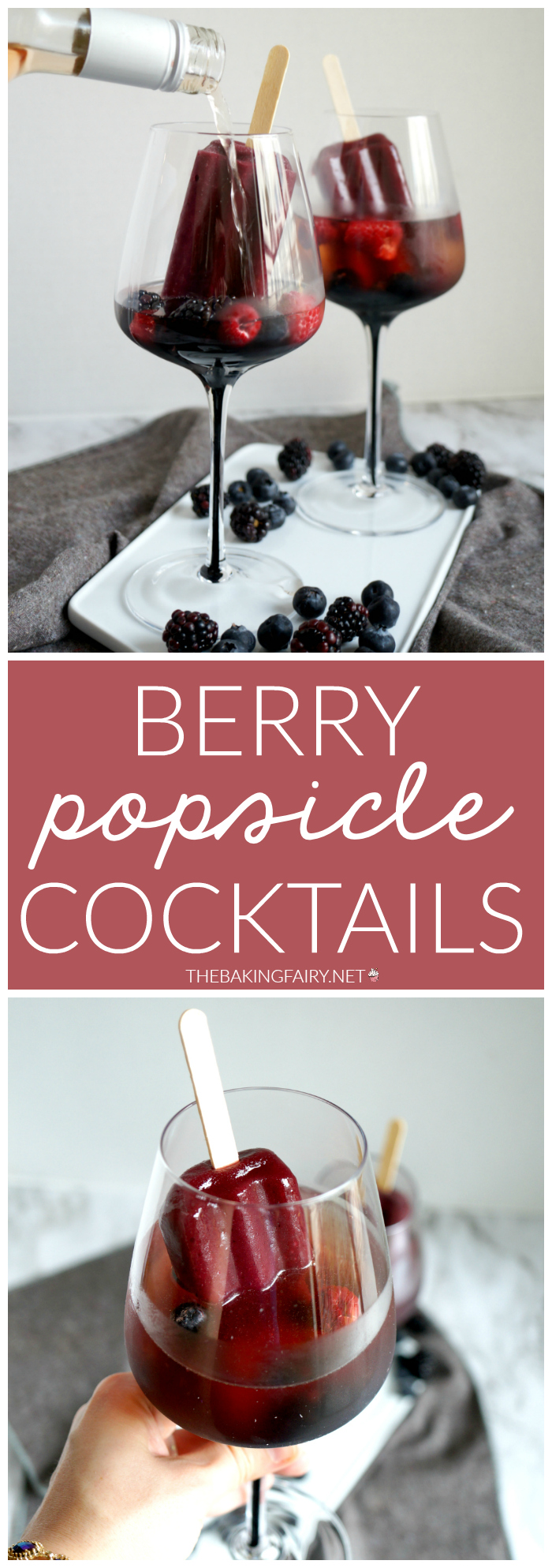 pinterest collage of berry popsicle cocktails