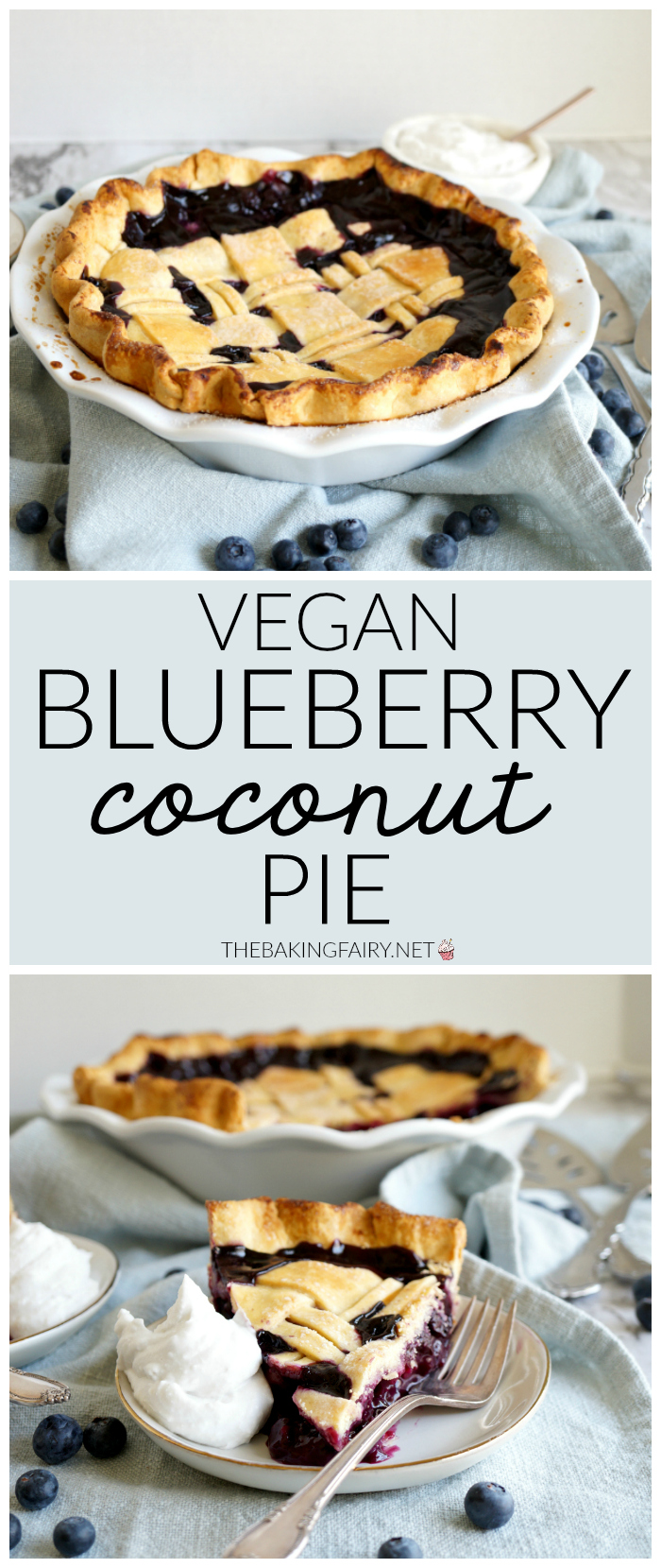 collage of blueberry coconut pie